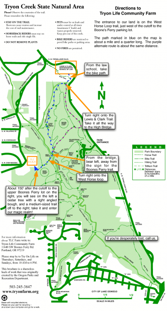 Walking map through Tryon Park